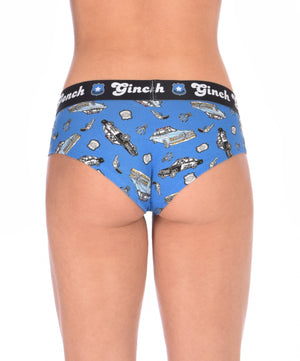 Ginch Gonch GG Patrol boy cut Brief women's underwear blue fabric with cop cars, badges, hand cuffs, and guns. Black trim and black printed waistband back