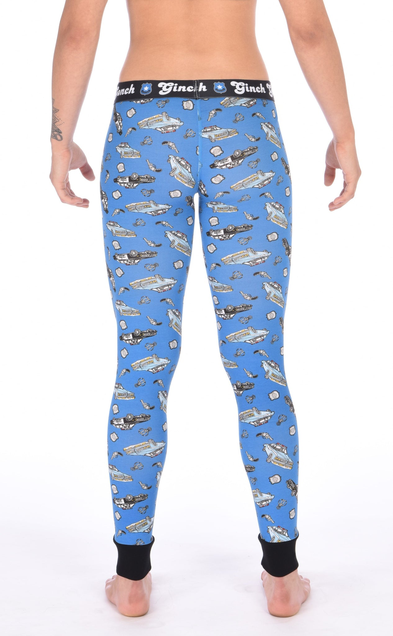 Ginch Gonch GG Patrol long john legging women's long underwear y front blue fabric with cop cars, badges, hand cuffs, and guns. Black trim and black printed waistband back