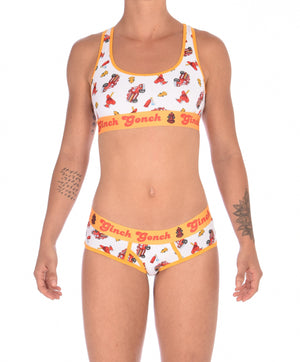 Ginch Gonch GG Fire Fighters boy cut Brief womens y front underwear white fabric with fire engines hats and hydrants, yellow trim and yellow printed waistband front shown with matching sports bra
