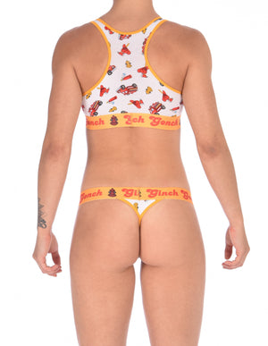 Ginch Gonch GG Fire Fighters thong women's underwear y front white fabric with fire engines hats and hydrants, yellow trim and printed yellow waistband back shown with matching sports bra