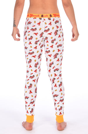 Ginch Gonch GG Fire Fighters long johns leggings women's underwear y front white fabric with fire engines hats and hydrants, yellow trim and yellow printed waistband back
