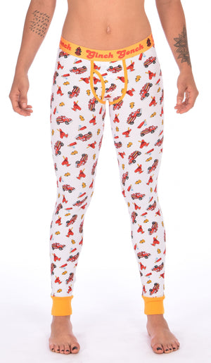 Ginch Gonch GG Fire Fighters long johns leggings women's underwear y front white fabric with fire engines hats and hydrants, yellow trim and yellow printed waistband front