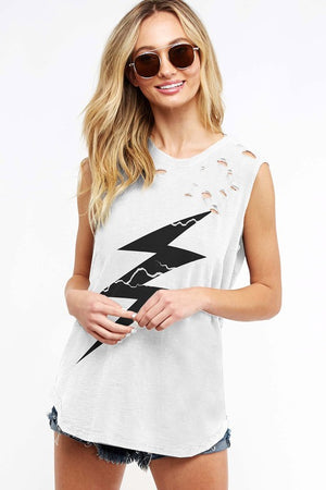 Distressed Lightning Bolt Tank - Off White