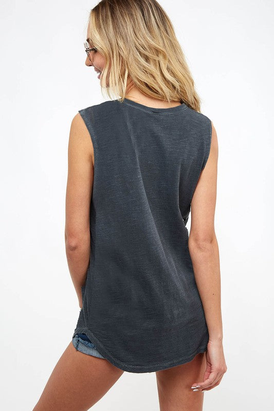 Distressed Star Tank - Charcoal