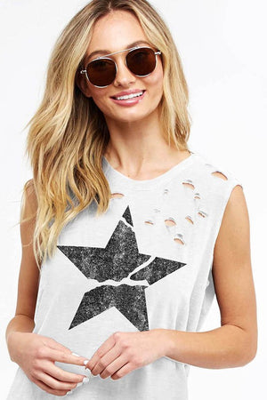 Distressed Star Tank - Off White