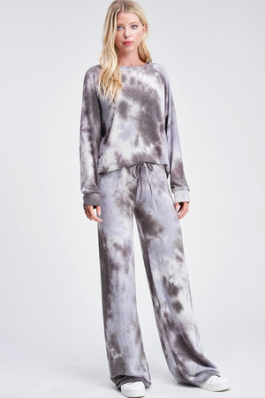 Tie Dye Loungewear Set Grey and Lavender