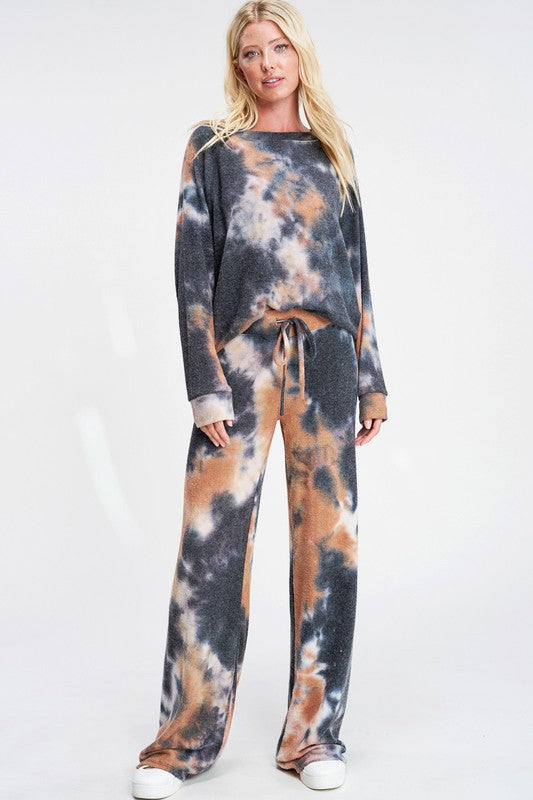 Tie Dye Loungewear Set Camel and Charcoal