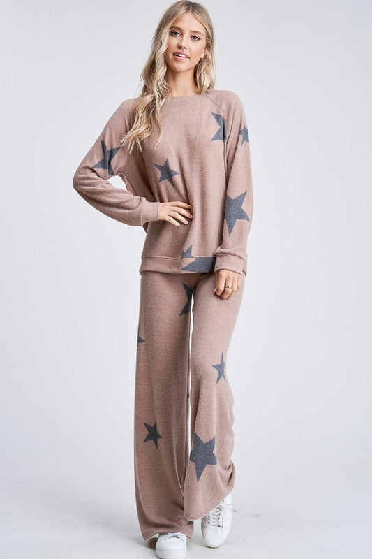 Camel and Black Star Loungewear Set