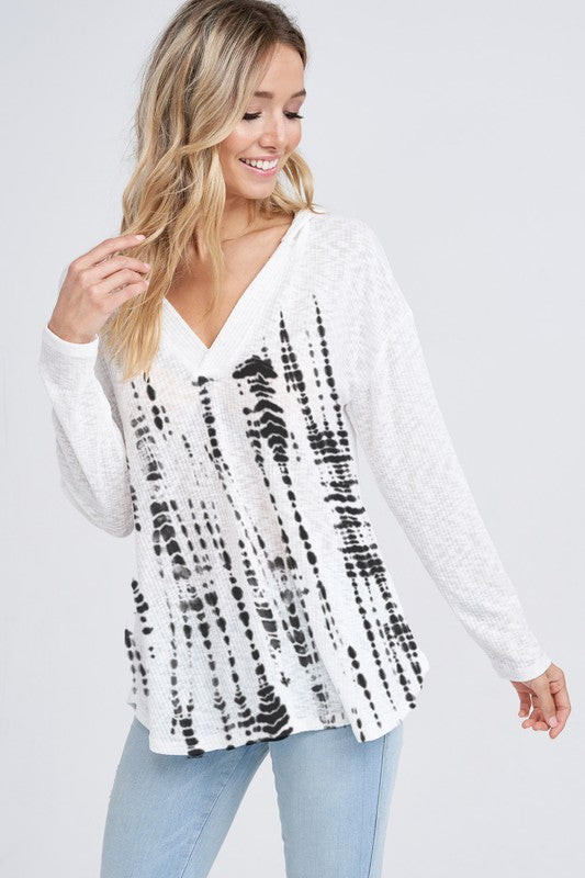 Black and Ivory Tie Dye Ribbed V-neck Hoodie