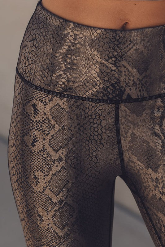 Metallic Copper Snakeskin Leggings