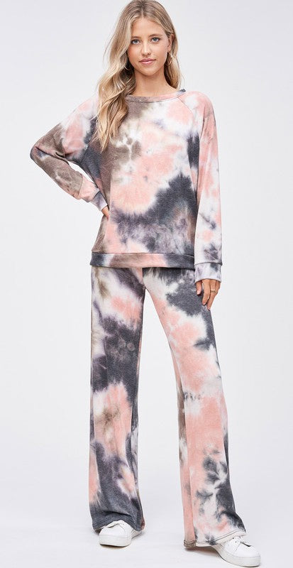 Tie Dye Loungewear 2 piece set Coral/Pink/Grey