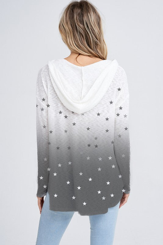 White and Grey Ombre Hoodie with Mini Stars