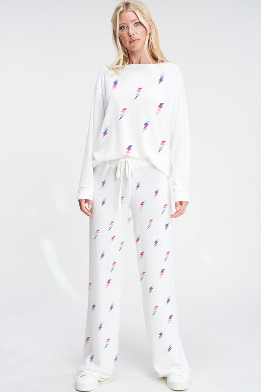Lightning Bolt Loungewear Set White