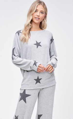 Grey and Black Star Loungewear Set