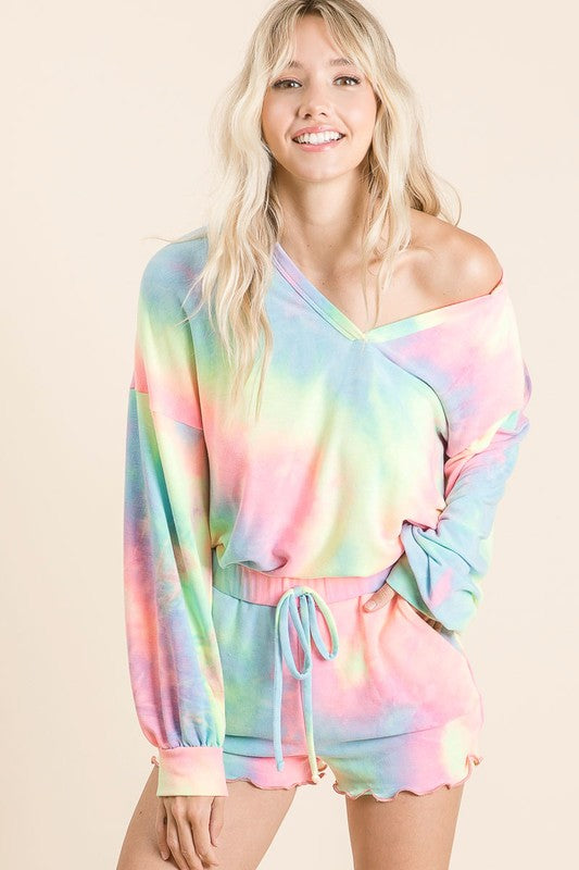 Pastel French Terry Tie Dye Loungewear Set with v-neck and scalloped shorts S-XL