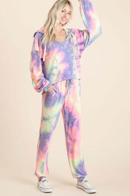 Purple, Pink and Yellow Tie Dye Loungewear Set with Hoodie and Joggers S-XL