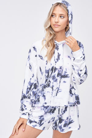 Blue 2 piece Tie Dye Loungewear Set with hoodie and shorts