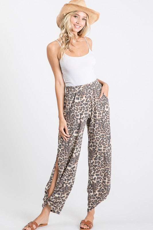 Leopard Print Side Split Tied Pants
