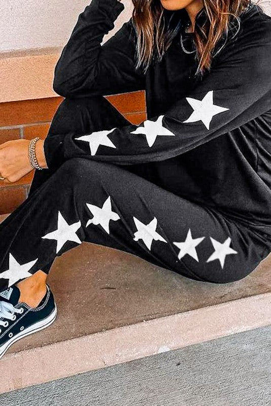 Side Stars Loungewear Set in Black with White Stars