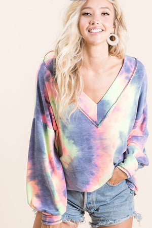 Charcoal Tie Dye Wide V-Neck Shirt with Puff Sleeves  S-XL