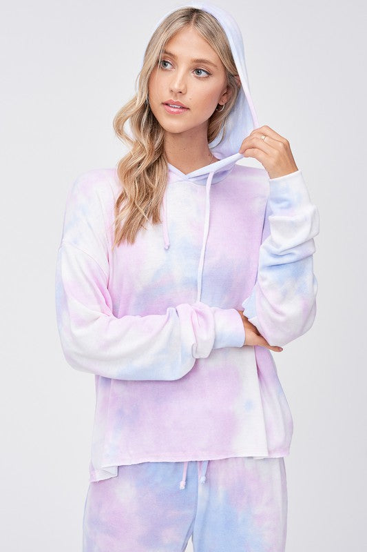 Pink and Blue Tie Dye Hoodie Loungewear Set