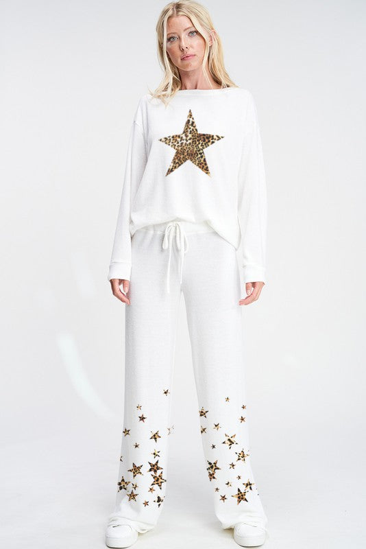 Leopard Star Loungewear Set White