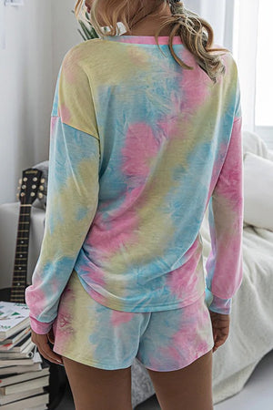 Tie Dye 2 Piece Set with Long Sleeves and Shorts (Multicolor pastel) SOLD OUT