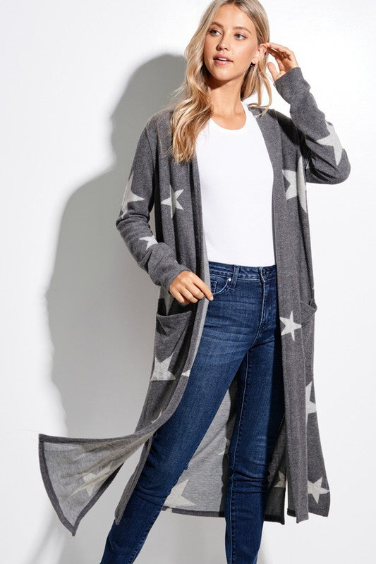 Long Charcoal Star Duster