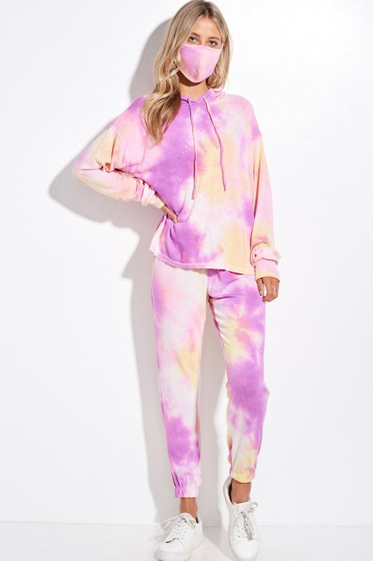 Fuchsia and Yellow Tie Dye Hoodie Loungewear Set