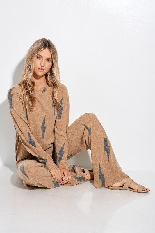 Camel and Black Lightning Bolt Loungewear Set