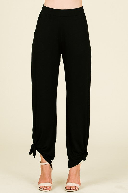 Black Side Split Tied Pants