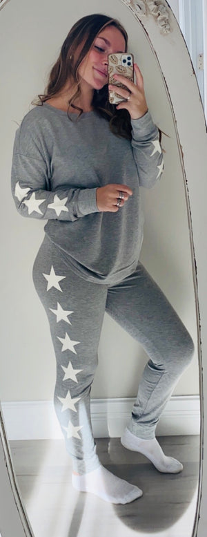 Side Stars Loungewear Set in Heather Grey with White Stars