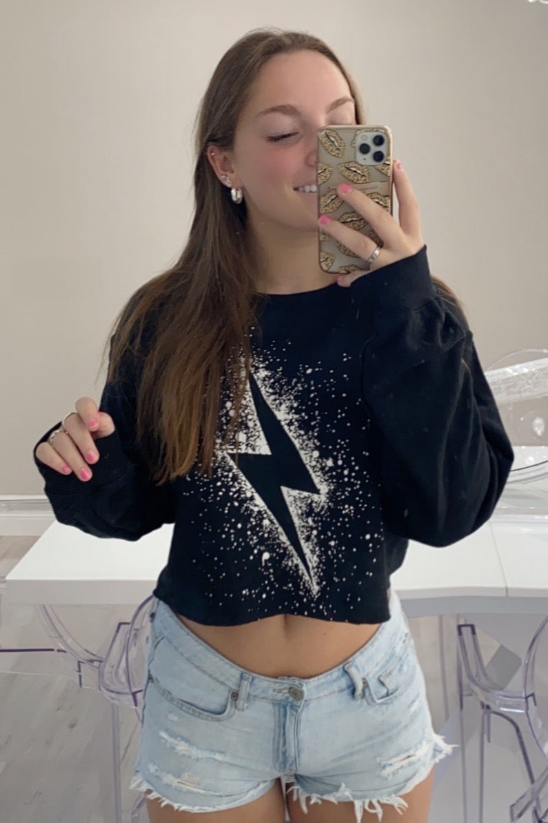 Lightning Bolt Splatter Crop Sweatshirt