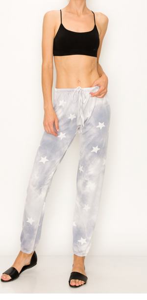 Tie Dye with Star Joggers Grey