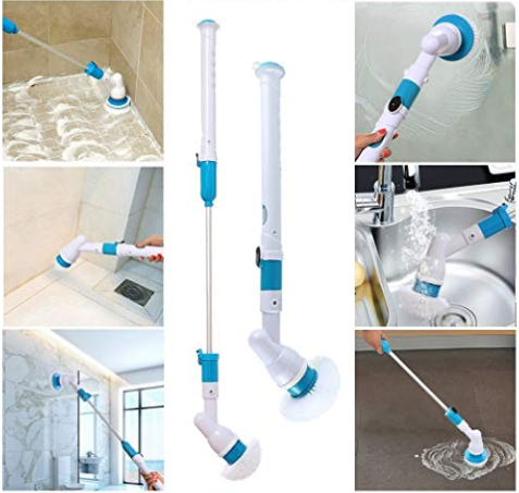 ELECTRIC POWER CLEANING SCRUBBER WITH EXTENSION HANDLE - Turbo Scrub Cleaning Brush Cordless Chargeable Bathroom Cleaner with Extension Handle Adaptive Brush Tub - 5econds.co