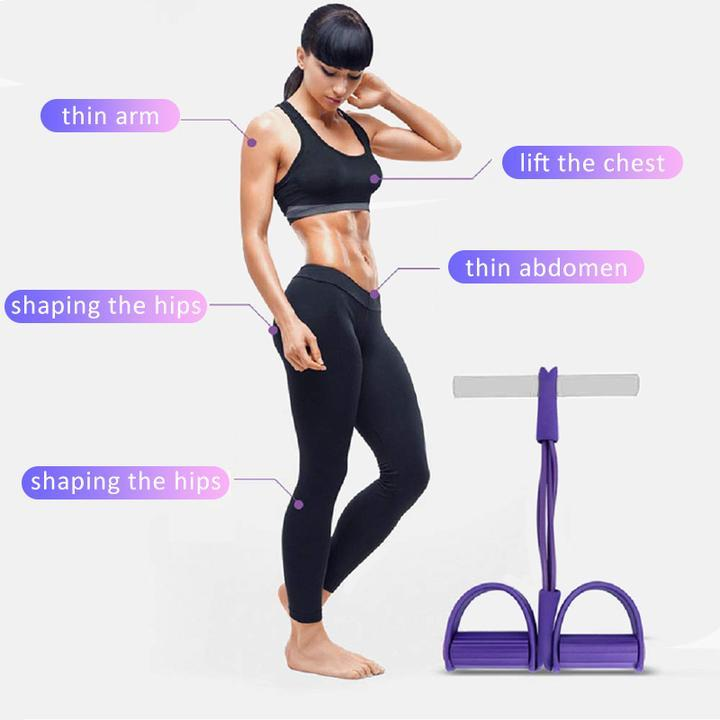 Fit™: 4-Tube Pedal Fitness Rope for Woman & Men - Fitness Gum 4 Tube Resistance Bands Latex Pedal Exerciser Sit-up Pull Rope Expander Elastic Bands Yoga equipment Pilates Workout - 5econds.co
