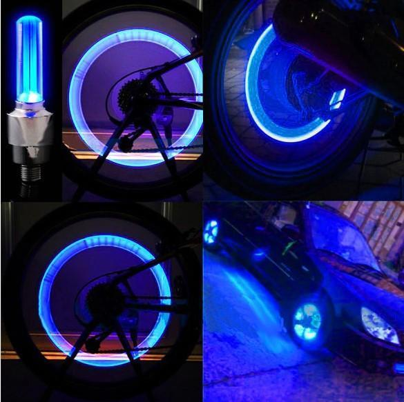 Waterproof LED Wheel Lights - Bicycle Wheel Lights Bike Wheel Light Cap Led Tire Valve Cap With Battery Mountain Road - 5econds.co
