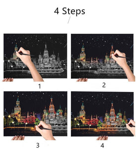Scratch Painting Kits - 41*28 cm Magic Scratch Art Crafts World Landscape Paper Adult kids decompression toys Creative DIY Gifts - 5econds.co