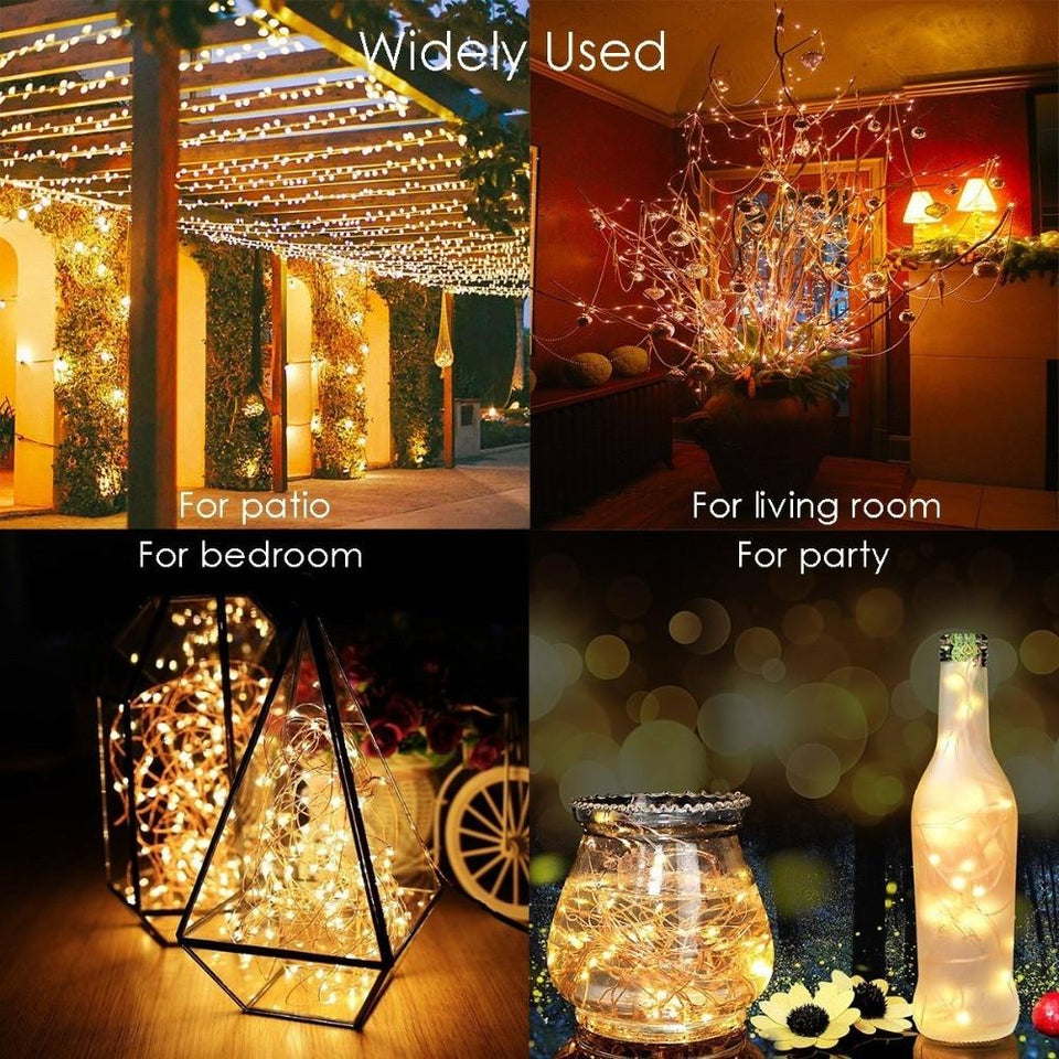 Starlight LED Solar Light - Waterproof Dimmable LED Outdoor String Lights Fairy Holiday Christmas Party Garden