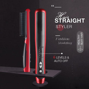 Hair Straight Styler - Multifunctional Beard Straightener Styler Brush Men Heat Hair Ceramic Curler Electric Hot Comb Care Machine - 5econds.co