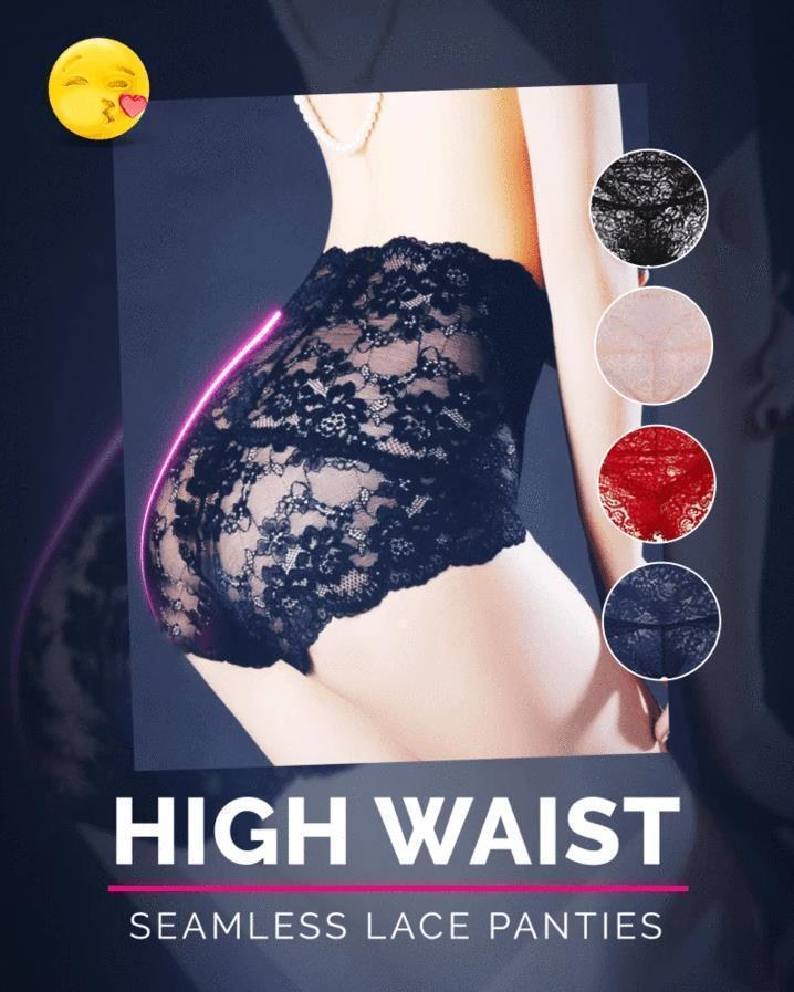 Seamless High Waist Lace Panty - Fashion Mesh Sexy Lingerie Brief Sleepwear Plus Size Lace Sex Underwear Knickers Panties Lady - 5econds.co