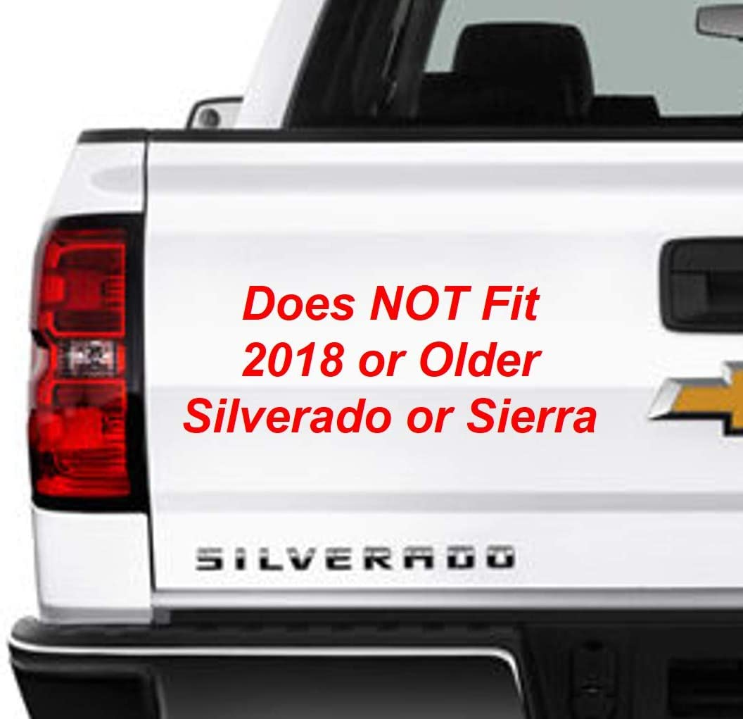 Image of driver side rear of white Chevy Silverado pickup truck with text overlay indicating that Railcaps stake pocket covers for 2019-2020 Silverado and Sierra trucks do not fit 2018 or older Silverado or Sierra models.