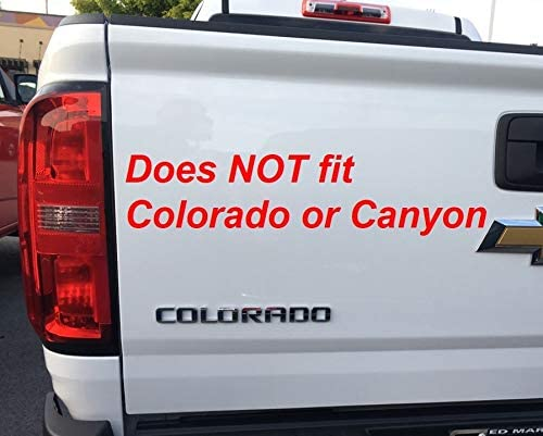 Image of driver side rear of white Chevy Colorado pickup truck with text overlay indicating that the Railcaps stake pocket covers for 2019-2020 Silverado and Sierra model trucks do not fit Colorado or Canyon model trucks.