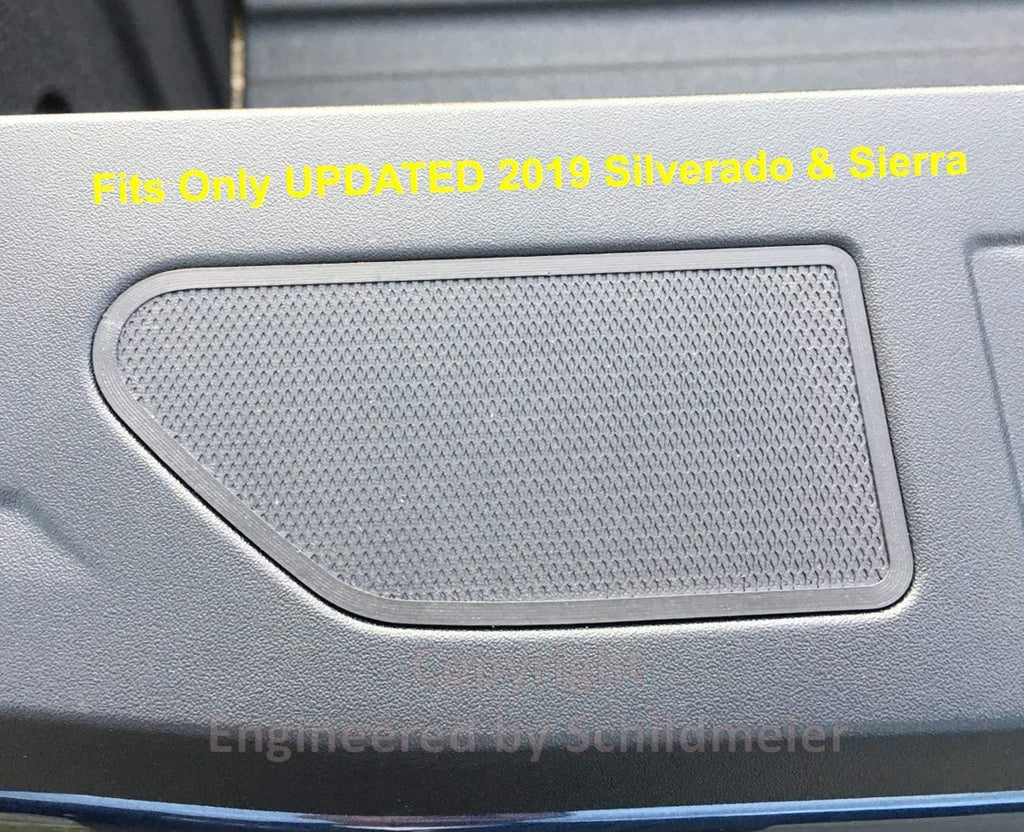 Close up of Railcaps stake pocket cover fit flush into black truck bed rail with text overlay - Fits only UPDATED 2019 Silverado & Sierra. Image is copyright Engineered by Schildmeier.