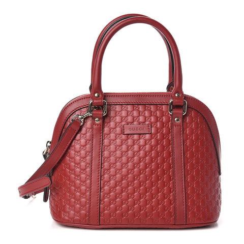 GUCCI Red Guccissima Leather Small Dome Shoulder Bag