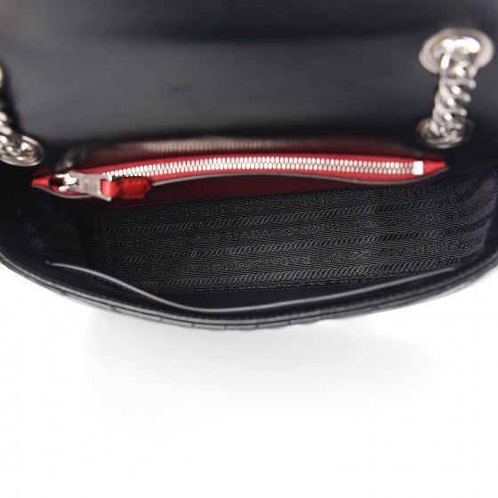 PRADA Black Quilted Leather Diagramme Shoulder Bag