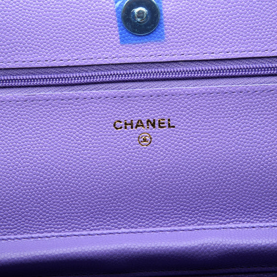 CHANEL Purple Caviar Quilted Leather Wallet On A Chain Shoulder Bag