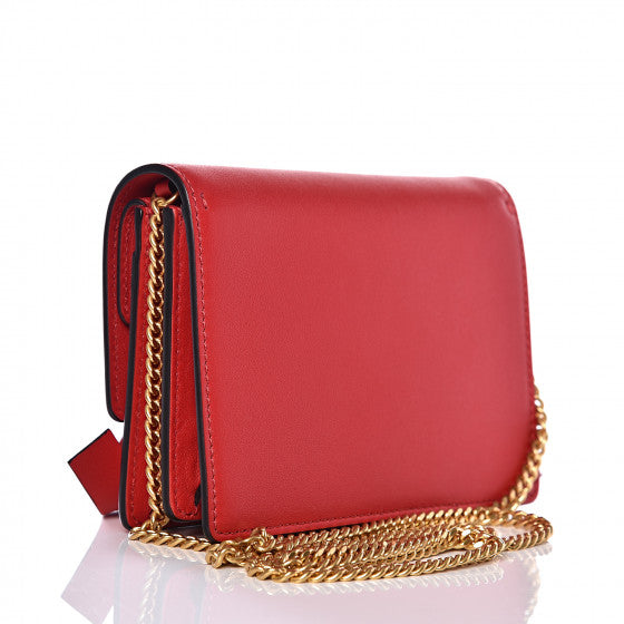 VALENTINO Red Leather VRing Crossbody Bag