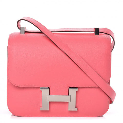 HERMES Pink Rose Azalee Leather Evercolor Constance 24 Shoulder Bag