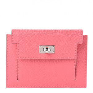 HERMES Pink Leather Epsom Kelly Wallet